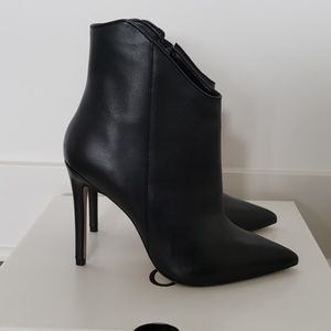 Pointy Toe Black Leather Ankle Boots